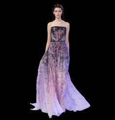 Elie Saab Collection S/S 2014 with a floral inspired gradient changing print with beading.  www.handembroidery.com