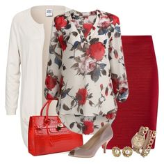 Cabbage rose blouse by shaninthesand on Polyvore featuring polyvore, fashion, style, Vero Moda, Nine West, BKE and clothing