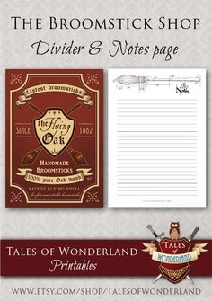 Printable Harry Potter planner set, A5 planner printables, Half-Letter and Personal size, Dashboard and notes pages, Broomstick, Nimbus 2000, Filofax inserts, planner refills, Kikki K, Planner kit by Tales of Wonderland on Etsy