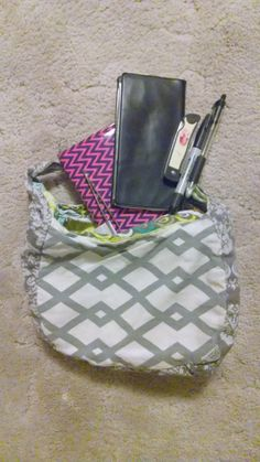 Gray and White floral Chevron purse with Bright yellow and blue designs. Custom orders available at https://www.etsy.com/shop/Pursettes?ref=si_shop