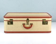 Hard Body Suitcase with Leather Handle, Trim, and Silk Interior ...