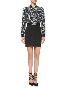 Black Halo Gabe Mini Dress W/ Leopard-Print Top, Women's, Size: 2, Print