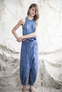 State : Image of origami pants / blue -- SHAPE Cozy Fashion, Women's Summer Fashion, Fashion Outfits, Womens Fashion, Ibiza Dress, Dressing, Fashion Images, Comfortable Outfits, Jumpsuits For Women