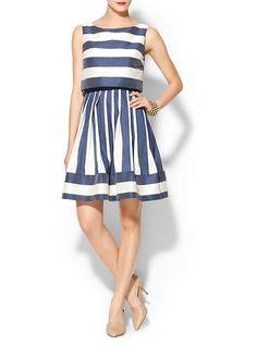 Pim Larkin Striped Dress So Cute For A Wedding Guest Navy Blue