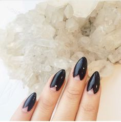 Almond nails- reversed french manicure- black nails