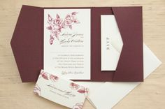 Rose wedding wallet wedding invitations. Lovely deep red colour.