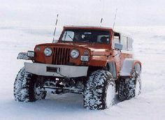 'Red Hulk' Jeepster Commando in snow Jeepster Commando, Jeep Stuff, Jeep Truck, Jeep Wrangler Unlimited, Jeep Life, Offroad, Cool Cars, 4x4, Monster Trucks