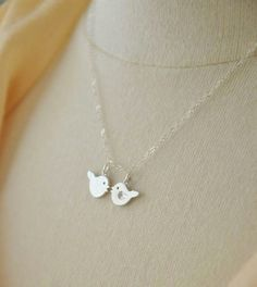 Sterling Silver A Couple of Tiny Birds Necklace - Couple's Necklace, Boyfriend Girlfriend, Romance, Love, Valentine's Day Gift
