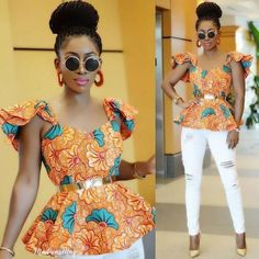 Here are beauteous pictures of best latest Ankara shirt and blouse styles for the actual of You accept abundant to analysis in allotment which to go African Blouses, African Tops, African Women, African Print Fashion, Africa Fashion, African Fashion Dresses, African Prints, Fashion Outfits, Fashion 101
