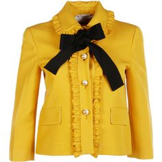 Gucci Blazers (€1.230) ❤ liked on Polyvore featuring outerwear, jackets, blazers, yellow, yellow blazer, gucci jacket, gucci blazer, yellow jacket and blazer jacket