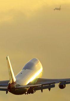 airplanes, Boeing, 747, climb, dusk, aviation, sunrise sunset,