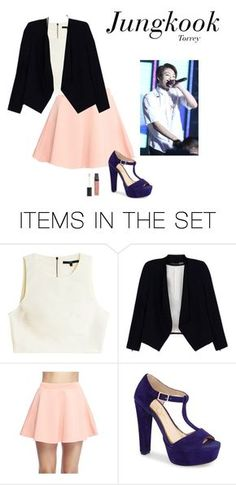 """Outfit when you are MC of big award and will deliver the prize to the BTS (you're girlfriend of them) JK"" by effie-james ❤ liked on Polyvore featuring art, simple, kpop, korean, bts and jungkook"