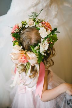 In love with this flower girl's floral crown: http://www.stylemepretty.com/little-black-book-blog/2013/11/08/asheville-wedding-from-fete-photography/ | Photography: Fete Photography - http://fetephotography.com/