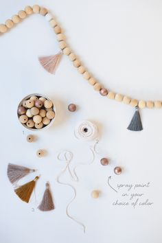 Top Fall Projects for Saturday - Doing Wood Work Diy Fall Crafts best fall diy crafts Diy Tassel Garland, Wood Bead Garland, Beaded Garland, Tassels, Pearl Garland, Garland Ideas, Fall Projects, Diy Wood Projects, Wood Crafts