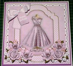 109. Card Tutorial: Stylish Lilac Dress Decoupage 8inch Card & Insert