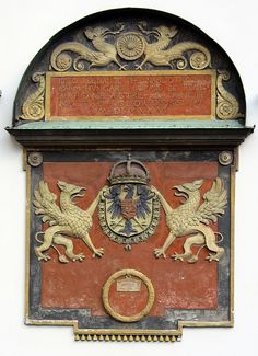 The coat of arms of the Holy Roman Emperor Ferdinand I, dated 1536, at the Hofburg Palace, Vienna, Austria. (Photo; baruchova/flickr)