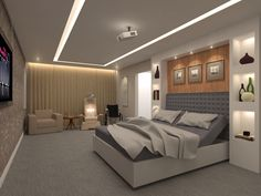Fashionable bedroom design with gray headboardand bedding set also lighting idea in ceiling including furniture shelves on the wall along with gray floor