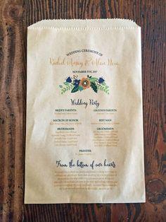 Wedding Program Favor Bag Rustic Popcorn Bag by ericksondesign