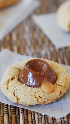 Perfect peanut butter cookies: soft, chewy, crumbly, with crackles on top, these will melt in your mouth!  With gooey and chewy chocolate caramel candy, Rolos!  Your kids will love these! | JuliasAlbum.com