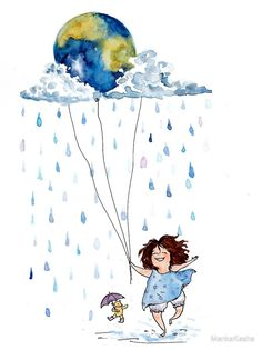 'Let's look after our planet' by MankaKasha Art Drawings For Kids, Cute Drawings, Watercolor Illustration, Watercolor Paintings, Girl Drawing Sketches, Whimsical Art, Cute Wallpapers, Cute Art, Illustrations