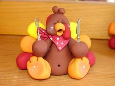 Polymer Clay Turkey by Jaime at Flakey n Friends