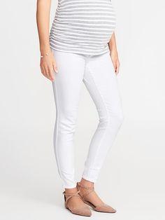 Maternity Premium Full-Panel Rockstar White Jeans