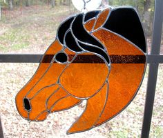LT Stained glass red rust Horse Head sun by UniqueStainedGlass, $55.00