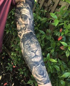 Healed sleeve done on my buddy Anton Cederholm - Tatuering Tattoos 3d, Badass Tattoos, Animal Tattoos, Love Tattoos, Small Tattoos, Tattoos For Guys, Tattos, Zeus Tattoo, Lion Tattoo Sleeves