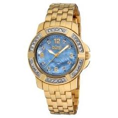 @Overstock - Never worry about losing track of time when you wear this stainless-steel diamond bracelet watch. This gold-tone watch has diamond accents and a mother of pearl face for added beauty, while the Swiss quartz movement ensures accurate timekeeping. http://www.overstock.com/Jewelry-Watches/Burgi-Womens-Stainless-Steel-Diamond-Bracelet-Watch/6708520/product.html?CID=214117 $89.99