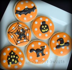 Halloween Cookies~                  by SweetArtSweets, $42.00, Orange, polka dot, black cat, witch hat, spider, web, Jack o Lantern, black bat, haunted house
