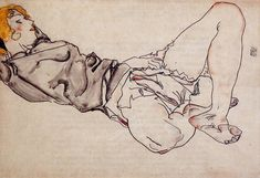 Reclining Woman with Blonde Hair, 1912, Egon Schiele Size: 30.5x44.7 cm Medium: watercolor on paper