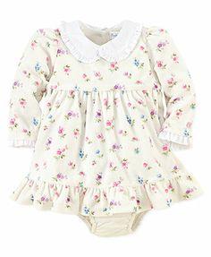Ralph Lauren Baby Girls Dress, Baby Girls Printed Floral Velour Dress