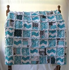 New Ready To Ship Turquoise Chevron White Black Grey Throw Rag Quilt Blanket Toddler Baby by SouthernStitchesCo on Etsy