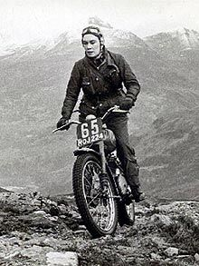 Olga Kevelos, successful trials rider during the 1950's. Initially Olga started riding to spend time with her boyfriend, but only to discover she had aptitude and talent for the sport.   The James Motorcycle Company soon discovered her talent and offered to sponsor her, which is fairly remarkable for this time period.  She went on to win two gold medals on a 500CC Norton in the international six day trials and continued to compete through the 1960's.