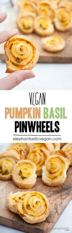 Recipe for super quick and easy vegan Pumpkin Basil Pinwheels. Made with vegan puff pastry. They are the perfect snack for parties. Vegan Pumpkin, Pumpkin Recipes, Fall Recipes, Snack Recipes, Vegan Appetizers, Vegan Desserts, Vegan Foods, Vegan Dishes, Vegan Party Food