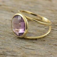 Purple amethyst double gold ring 14K solid by KyklosJewelryLab