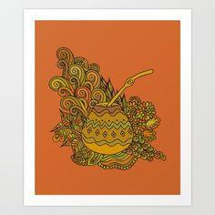 Yerba Mate In The Gourd Art Print by Marina_Demidova - X-Small Yerba Mate Tea, Gourd Art, Coffee Art, Gourds, South America, Art Prints, Illustration, Tattoo, Products