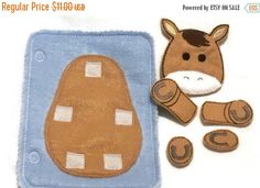 YEAR END SALE Horse build a book activity book add on page felt quiet book page
