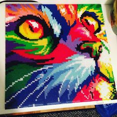 Colorful cat perler beads by beautifulraindrops (9 pegboards, 7,600 beads)