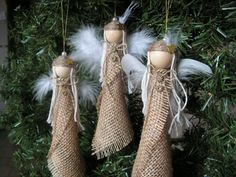 Christmas Ornament burlap angel set of 3 by Mydaisy2000 on Etsy