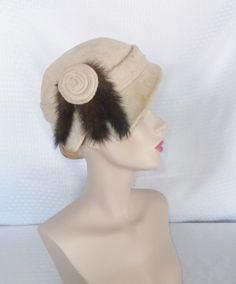 1950's Vintage Side Swept Beige Cloche Hat with Mink Tails by MyVintageHatShop, $45.00