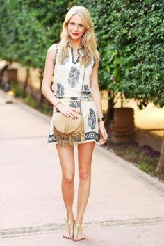 The Top 9 Styling Ideas of Summer 2014 | An embroidered tunic dress is perfect for a casual summer adventure when paired with gladiator sandals and a fringed crossbody bag.