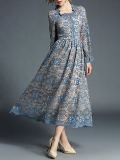 This Blue Floral-Lace Button-Front Midi Dress - Women is perfect! Dress Skirt, Lace Dress, Dress Up, Baby Girl Dress Patterns, Robes Midi, Lace Button, Front Button, Moda Casual, Designs For Dresses