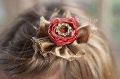 vintage wedding flower hair piece coral gold rhinestone brooch photo prop hair clip children newborn flower girl bridesmaid hair piece via Etsy