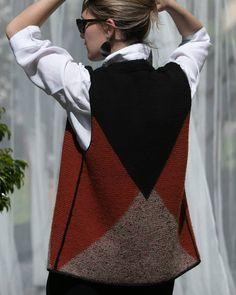 Knit Vest, Crochet Cardigan, Crochet Lace, Knit Fashion, Womens Fashion, Knitting Videos, Chevron, Knitwear, Knitting Patterns
