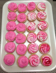 Vanilla Cupcakes with Pink Whipped Icing