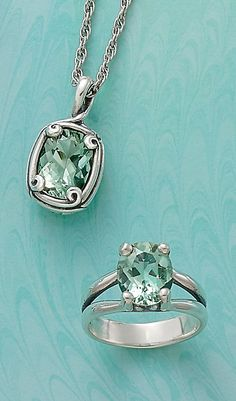 Christmas Collection: Crafted Loops Prasiolite Pendant and Oval Prasiolite Ring #JamesAvery