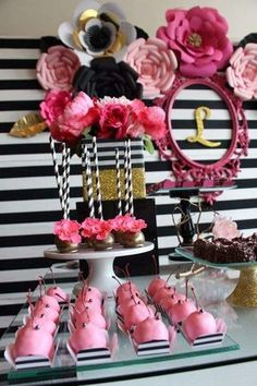 Pink sweets at a black, white, pink and gold  birthday party! See more party ideas at CatchMyParty.com!