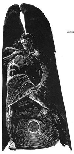 Genesis: 32 (Jacob wrestles with the angel) - Lynd Ward