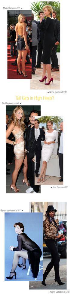 Tall women / Girls inspiration - Tall celebrities like Uma Thurman, Nicole Kidman, Sigourney Weaver, Maria Sharapova in heels. can tall girls wear heels? Are high heels for you?